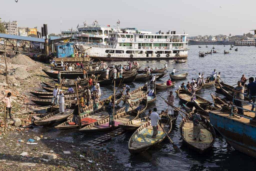 Boats on riveside in Bangladesh
