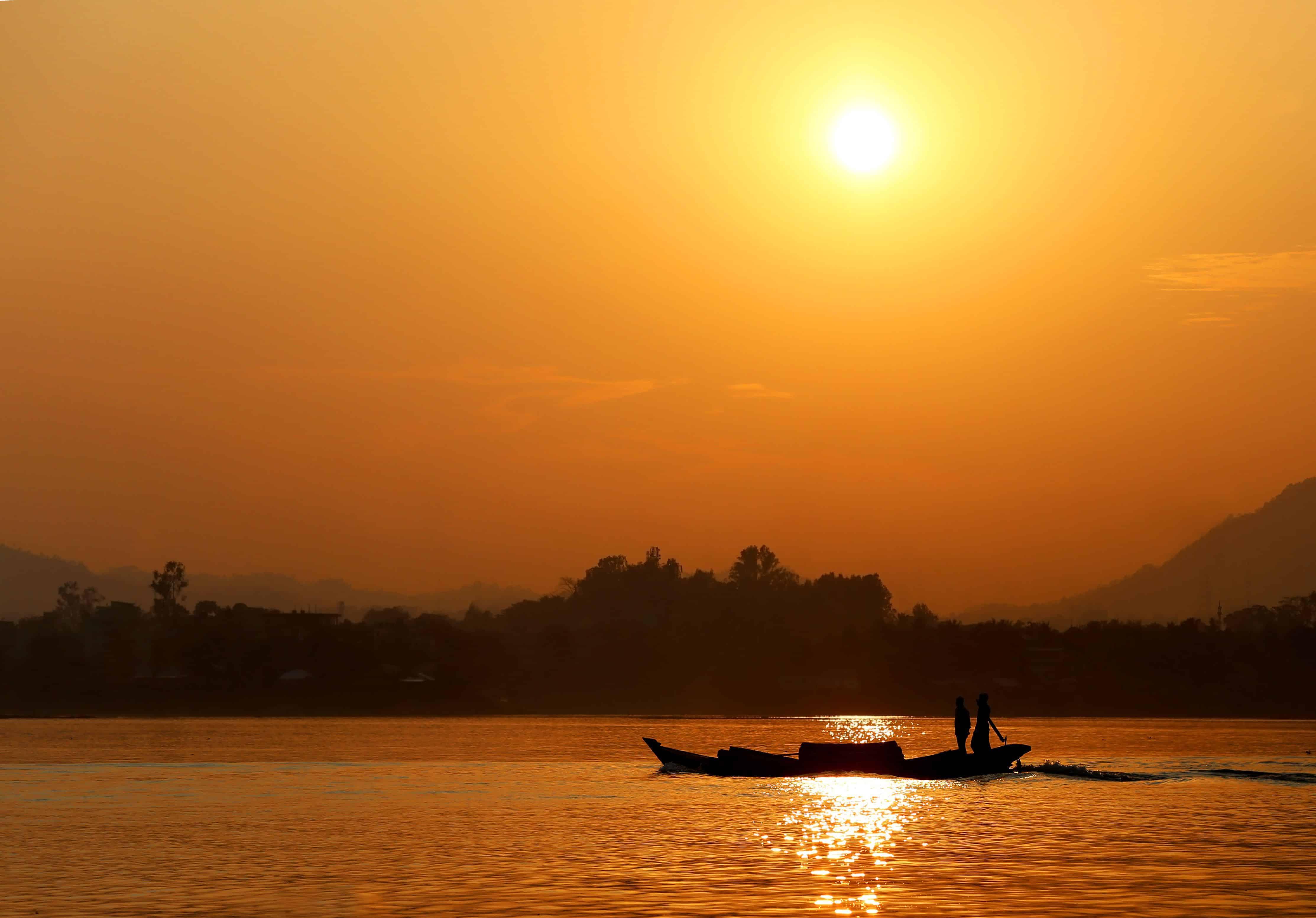 Setting sun at Kaptai lake of Bangladesh