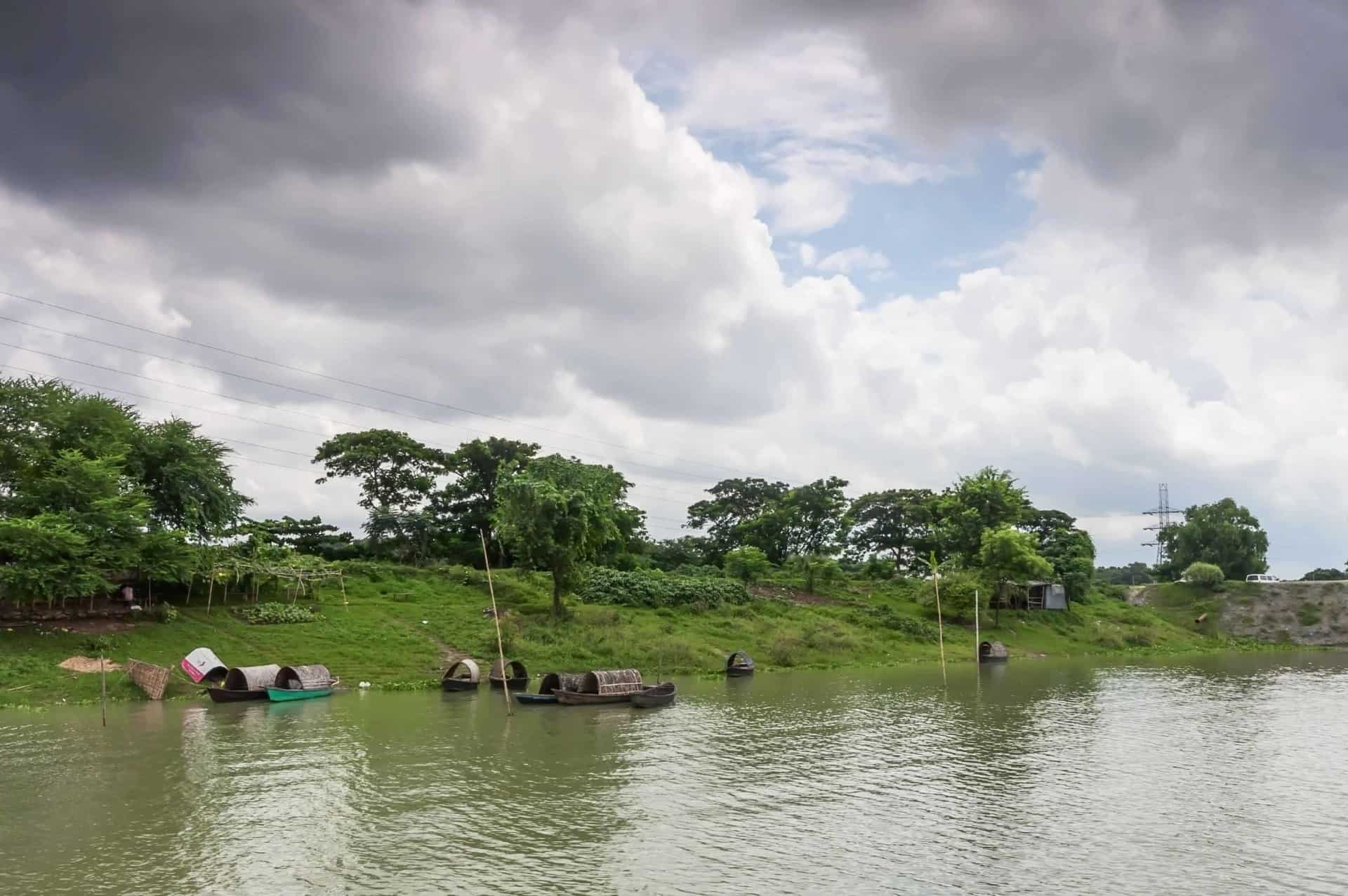 In the rainy season, on the outskirts of Dhaka, capital of Bangladesh, all fields are filled with water