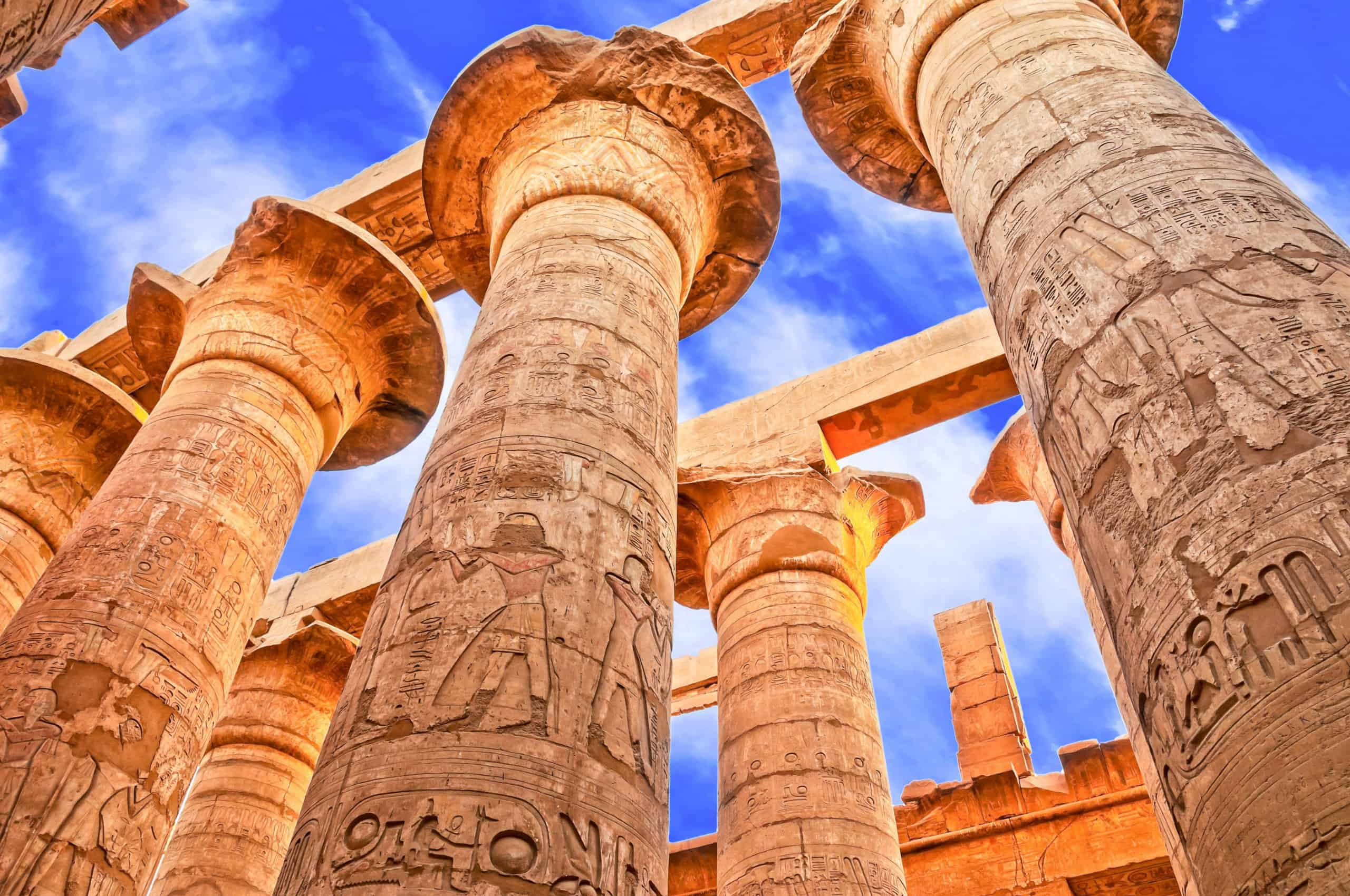 Great Hypostyle Hall and clouds at the Temples of Karnak (ancient Thebes). Luxor, Egypt