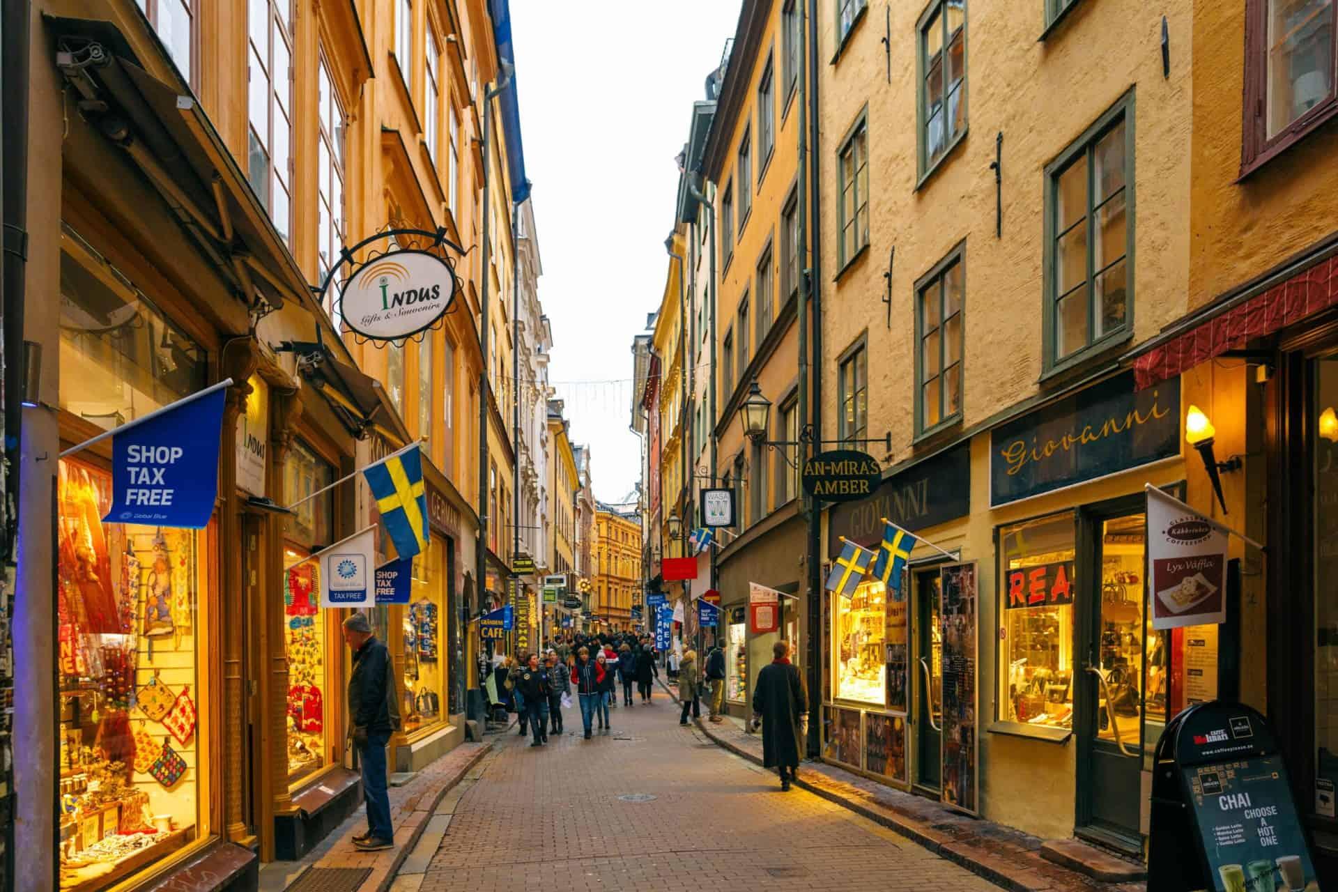 Stockholm Sweden December 2018 shopping street Tourist Christmas rush