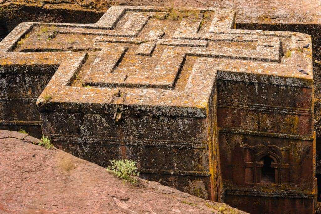 St. George Church, carved from solid rock in the shape of a cross, Lalibela, Ethiopia