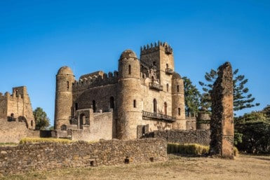 Fasil Ghebbi Royal Enclosure is the remains of a fortress-city within Gondar, Ethiopia. It was founded in the 17th century by Emperor Fasilides and was the home of Ethiopia's emperors.