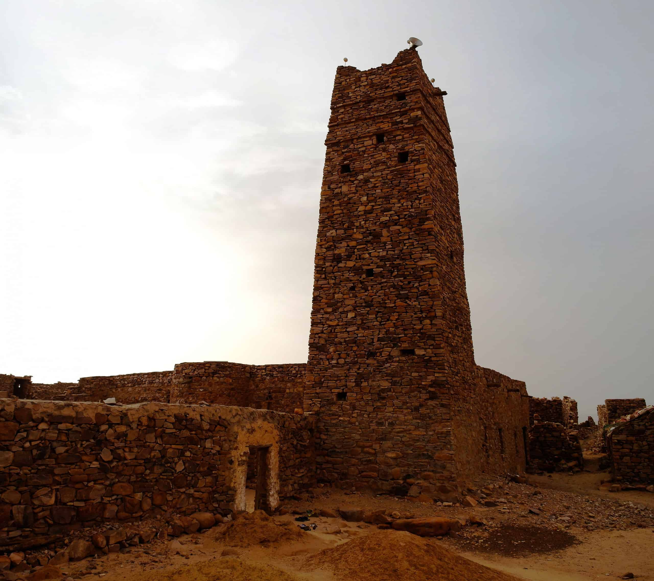 Ruins of Ouadane fortress and mosque in Sahara at Mauritania