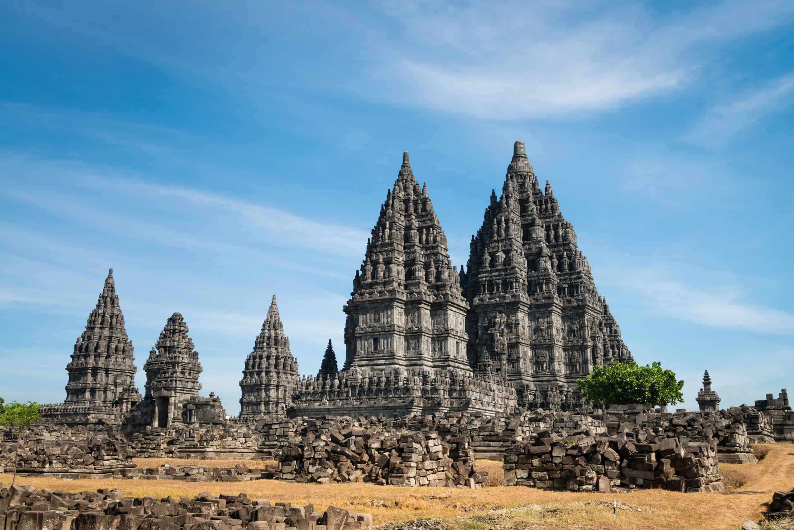Candi Prambanan or Candi Rara Jonggrang is a 9th-century Hindu temple compound in Central Java, Indonesia, dedicated to the Trimurti, the expression of God as the Creator (Brahma), the Preserver (Vishnu) and the Destroyer (Shiva).