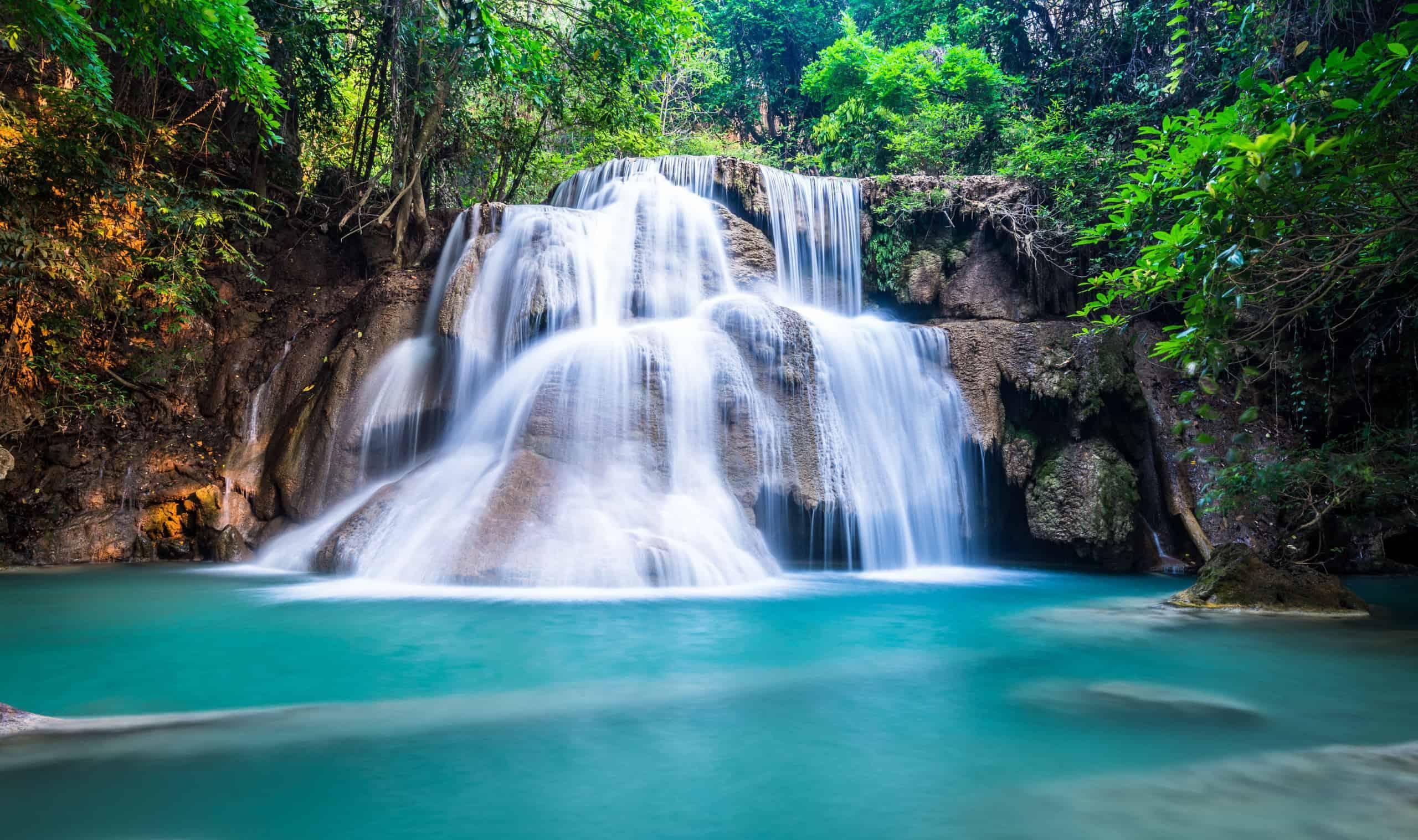 Deep forest waterfall at Huay Mae Khamin, Kanchanaburi Province, Thailand
