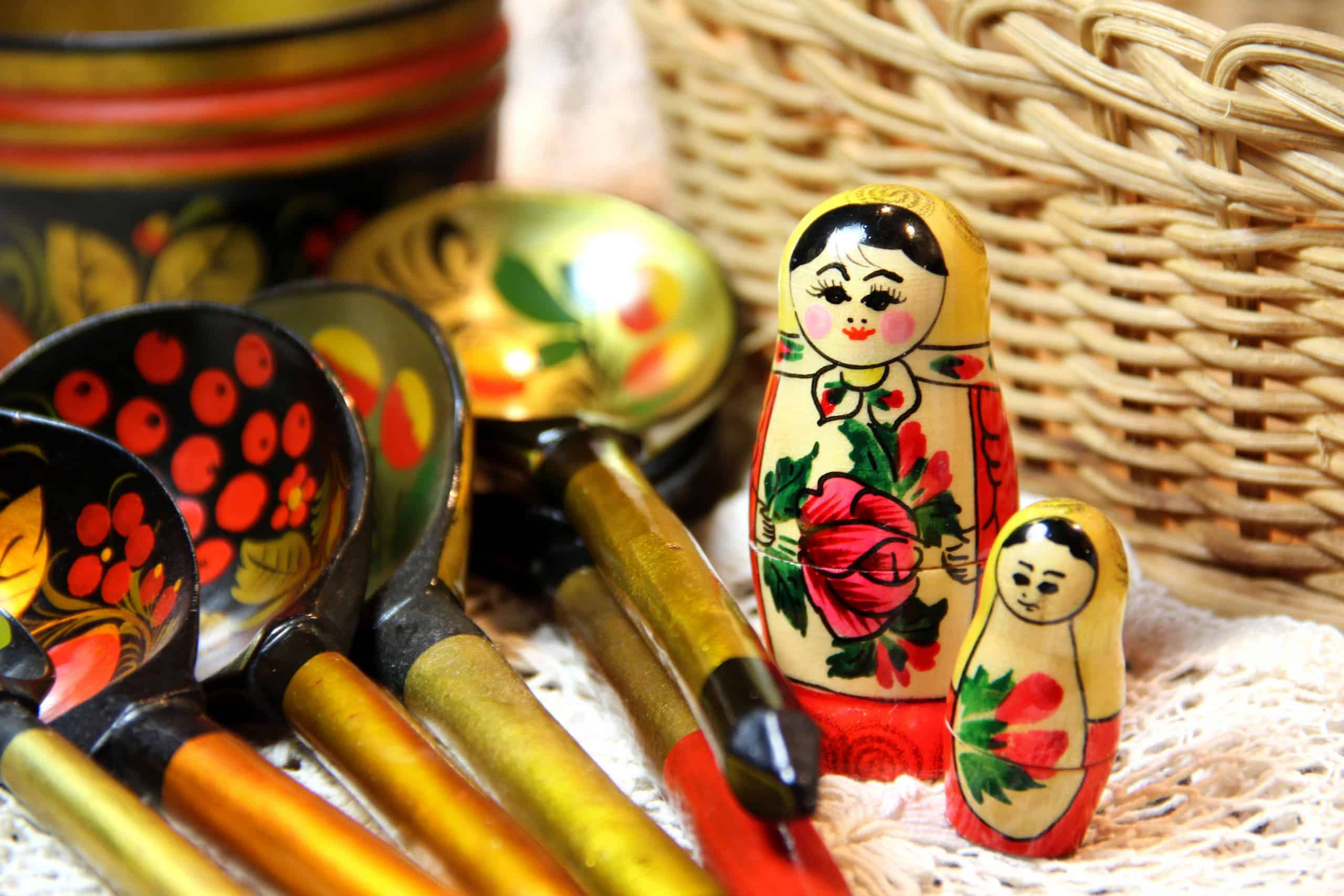 Mix of traditional Russian Souvenirs and antique objects