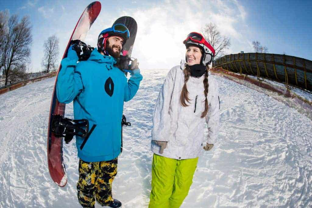 Couple snowboarding in South Korea