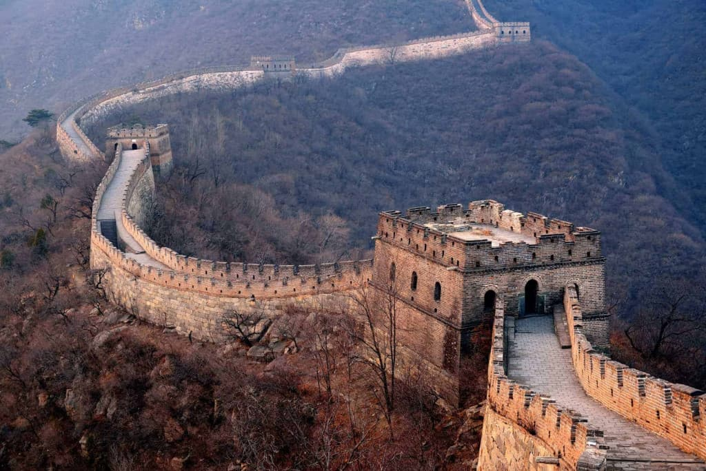 Great Wall of China sprawling across hills