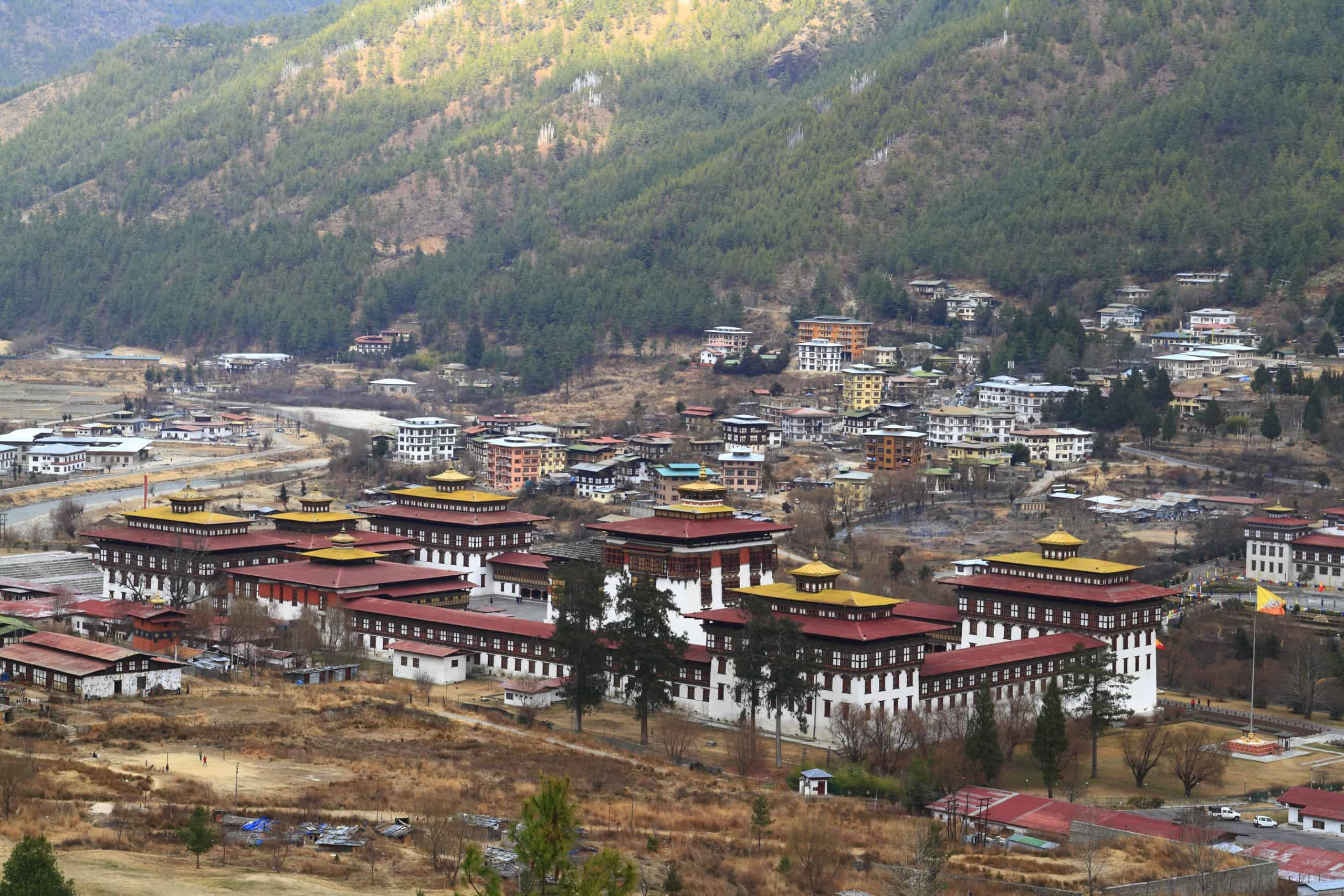 Tashichho Dzong is a Buddhist monastery and fortress on the northern edge of the city of Thimpu in Bhutan
