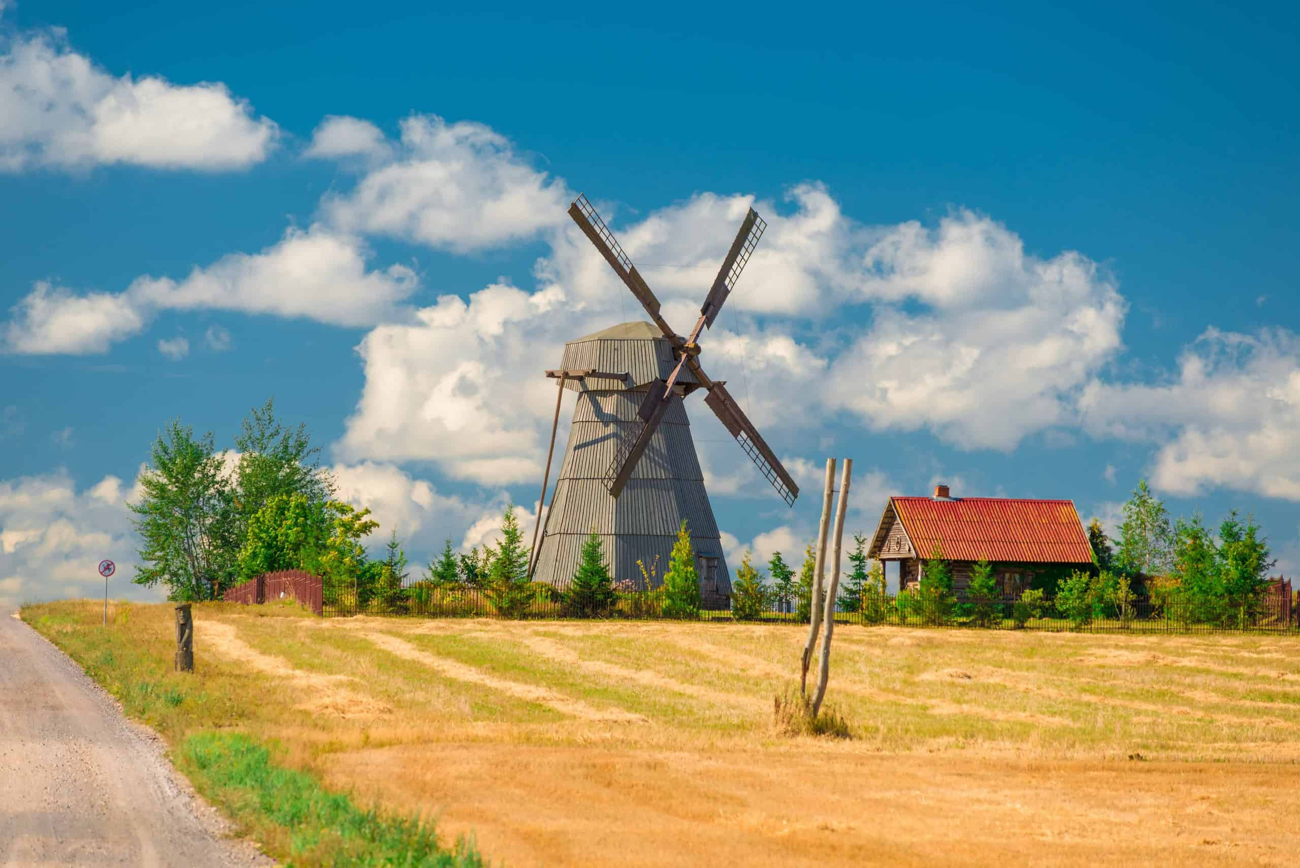 A windmill at the Dudutki open-air museum