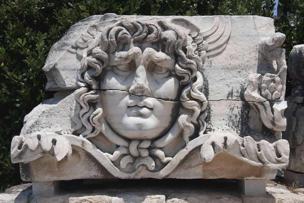 Statue of Medusa, upturned