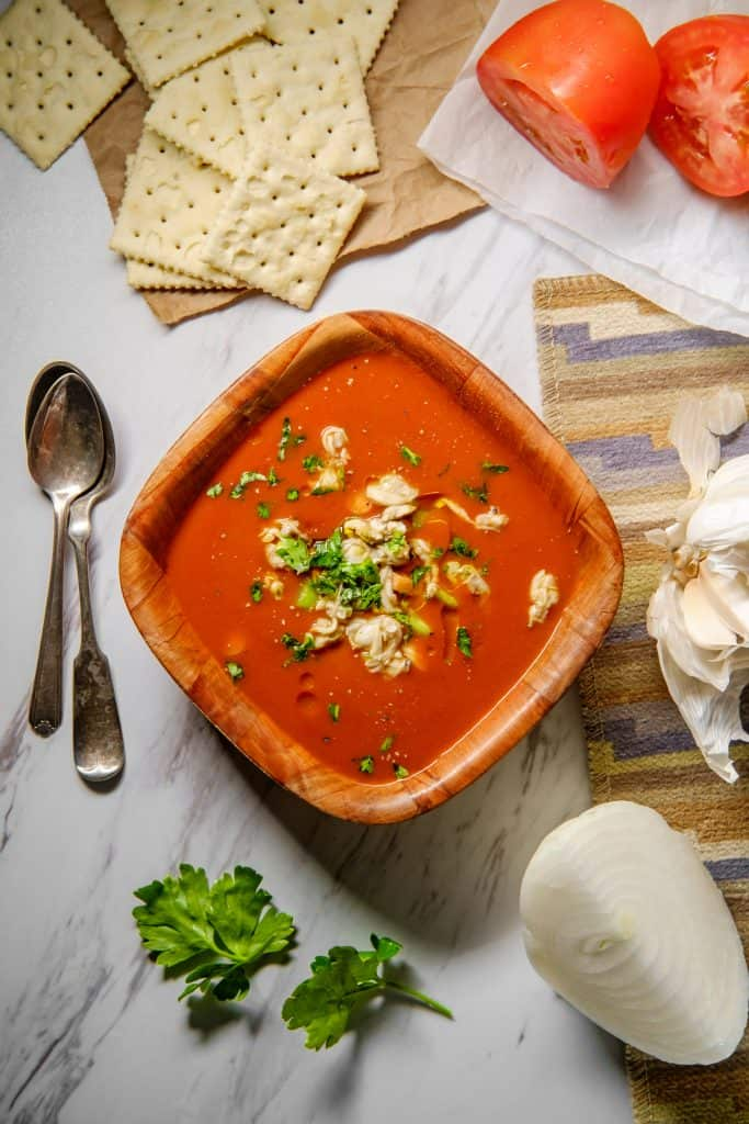 Tomato-based vegetable soup