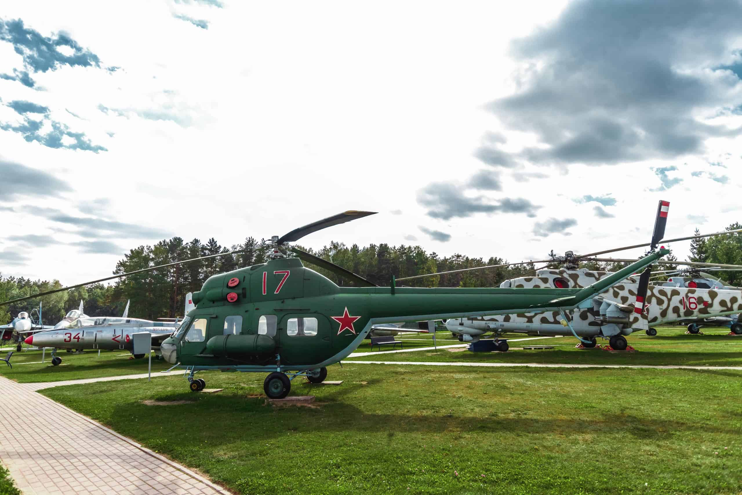 An old helicopter in a Minsk museum