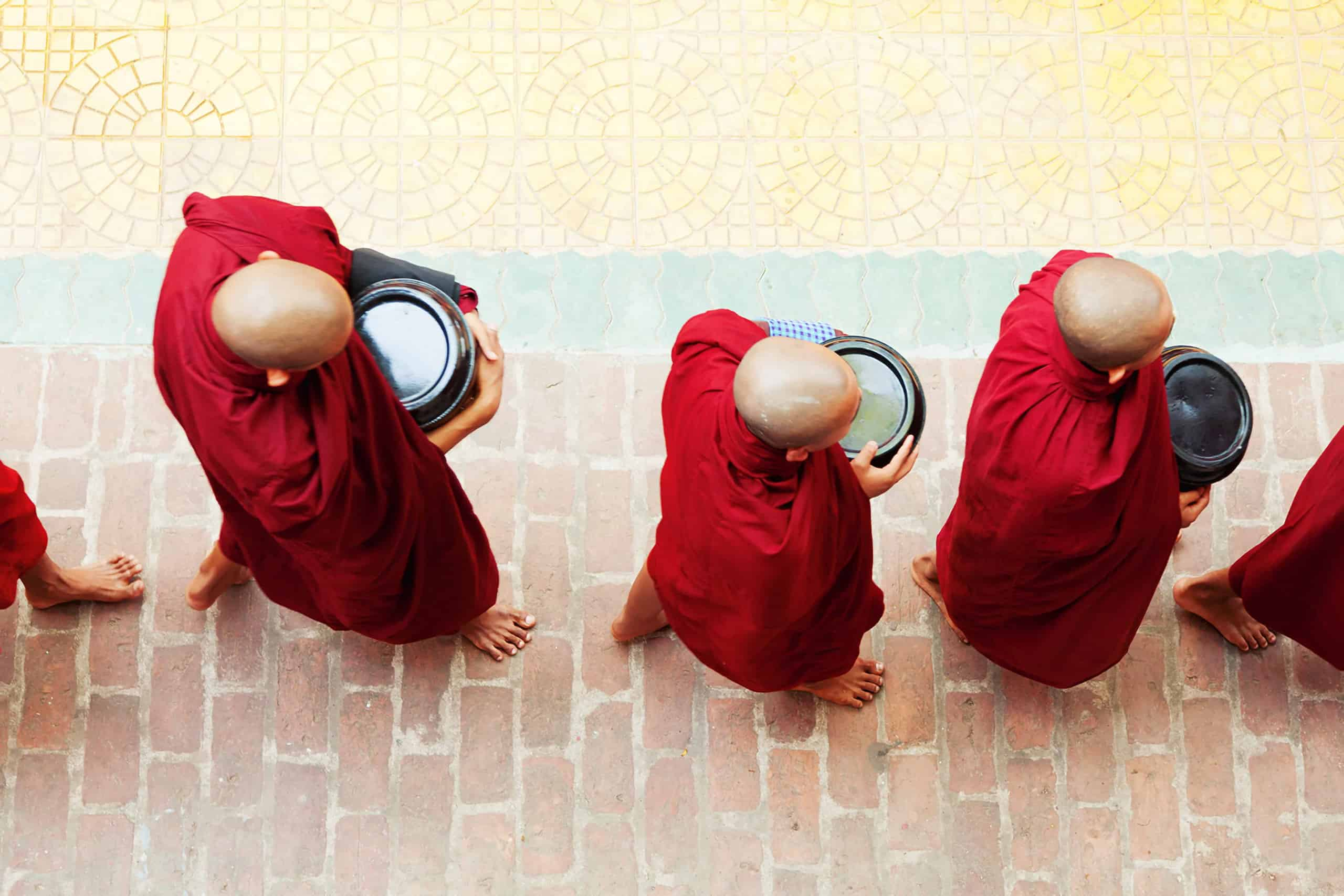 Monks in red robes